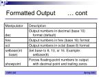 formatted output cont1