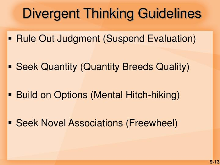 Divergent Thinking Guidelines