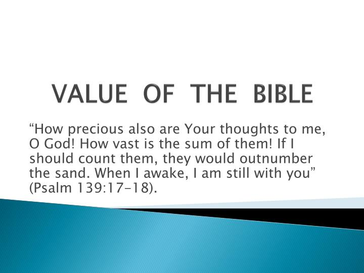 value of the bible n.