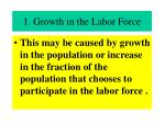 1 growth in the labor force
