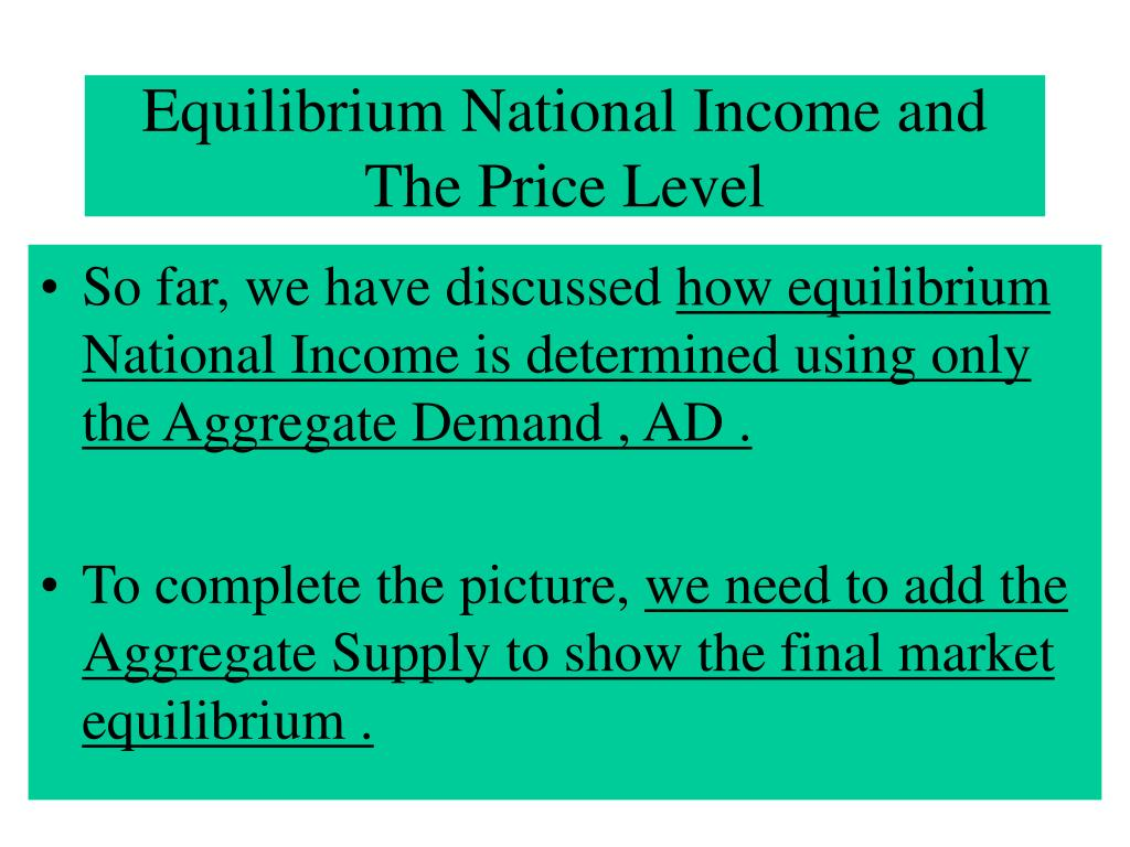 Equilibrium National Income and The Price Level