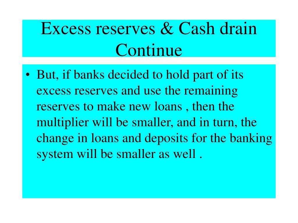 Excess reserves & Cash drain Continue