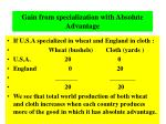 gain from specialization with absolute advantage