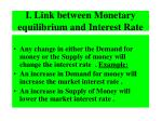 i link between monetary equilibrium and interest rate