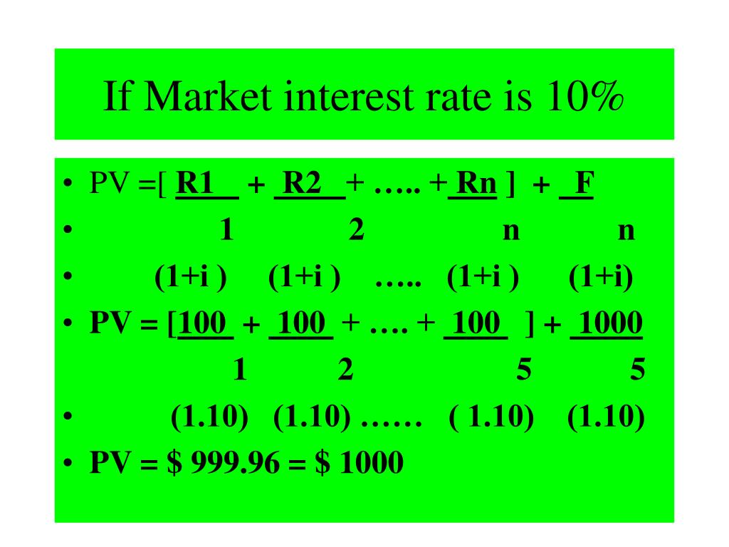 If Market interest rate is 10%