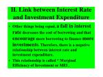 ii link between interest rate and investment expenditure