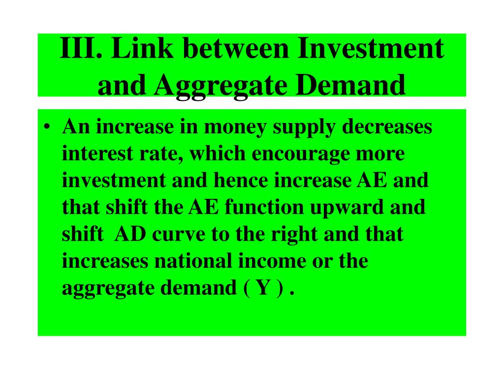 III. Link between Investment and Aggregate Demand
