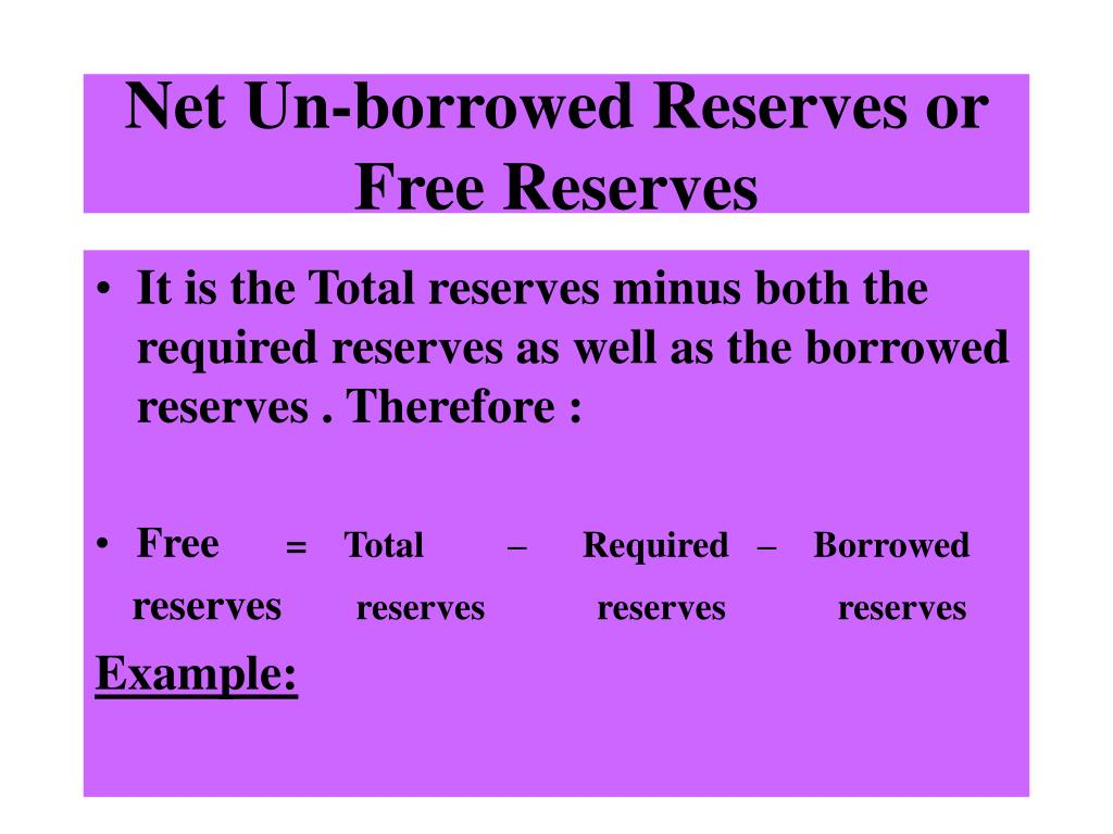 Net Un-borrowed Reserves or Free Reserves