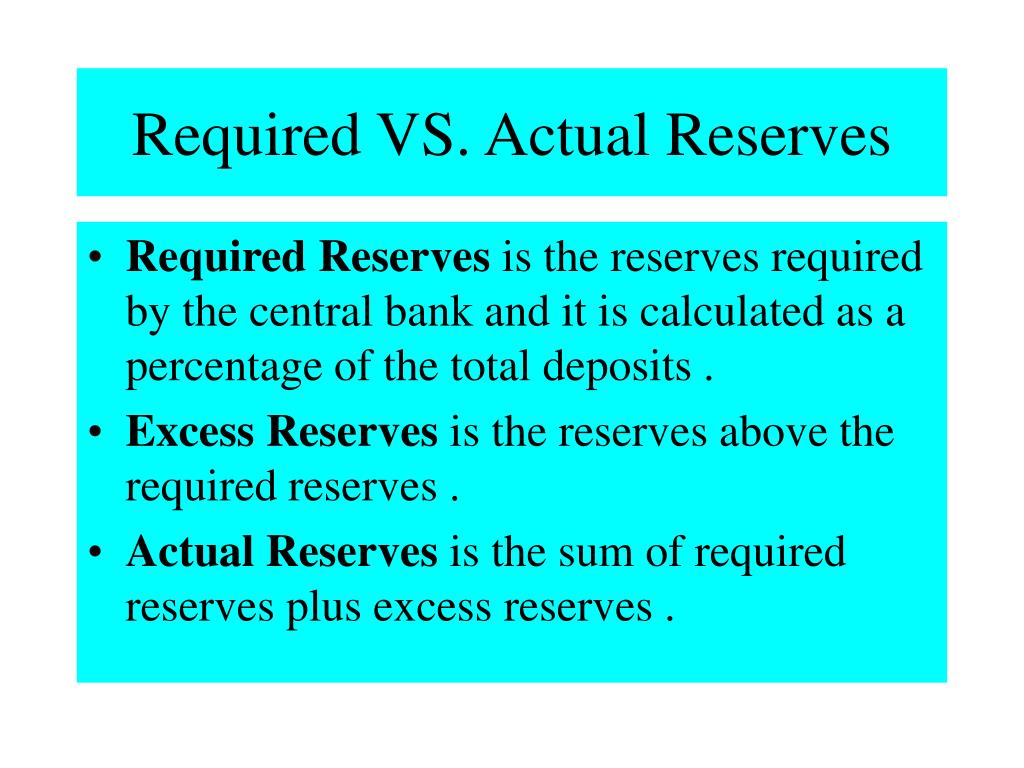 Required VS. Actual Reserves
