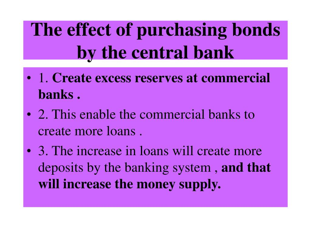 The effect of purchasing bonds by the central bank