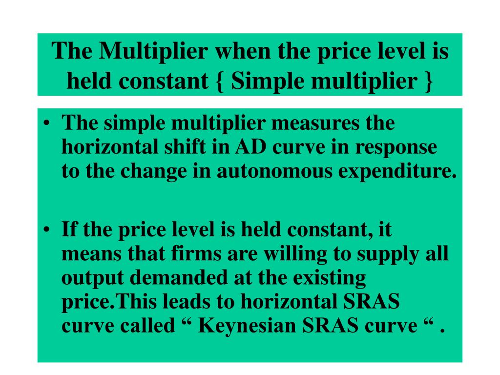 The Multiplier when the price level is held constant { Simple multiplier }