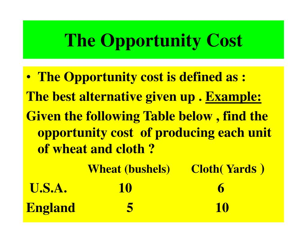 The Opportunity Cost