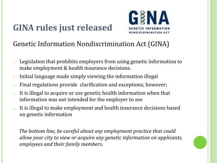 GINA rules just released