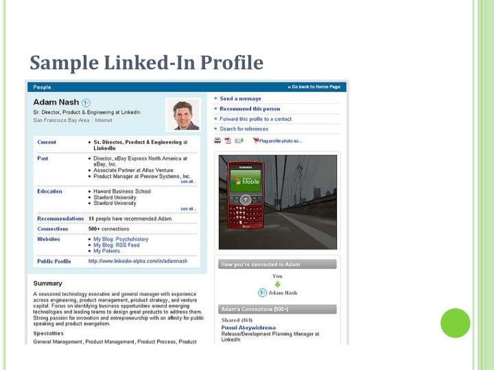 Sample Linked-In Profile