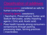classification of additives
