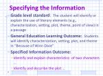 specifying the information