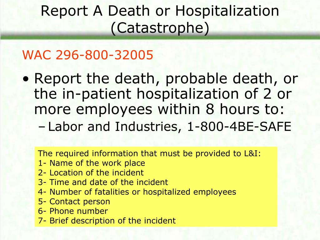 Report A Death or Hospitalization (Catastrophe)