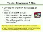 tips for developing a plan