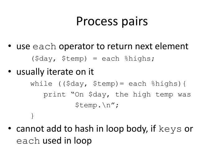 Process pairs