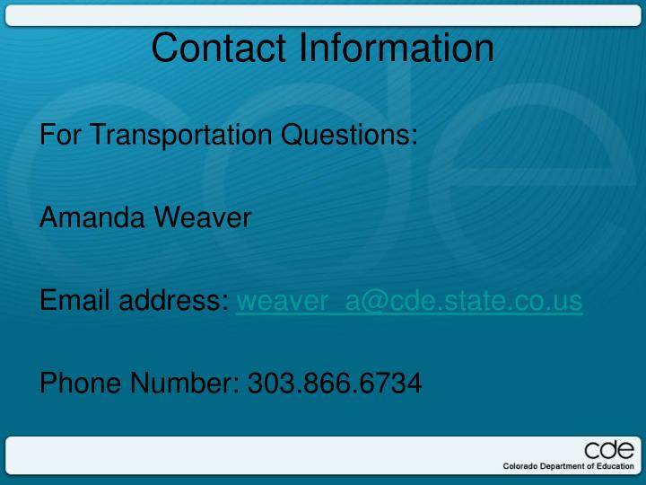 For Transportation Questions: