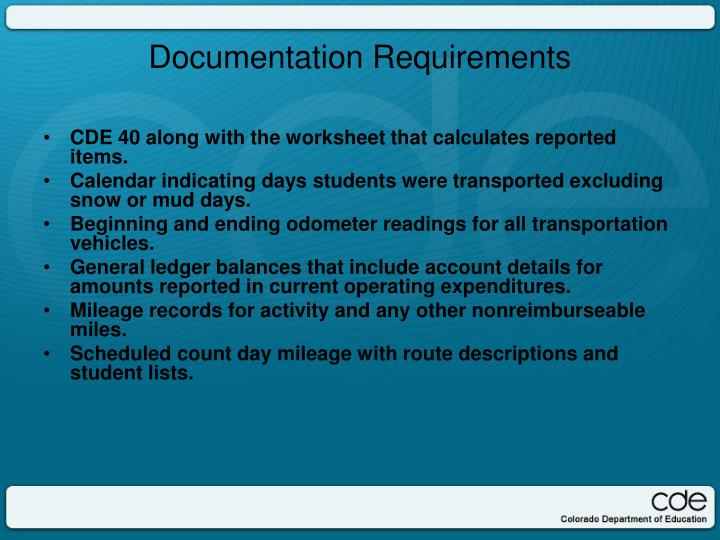 CDE 40 along with the worksheet that calculates reported items.