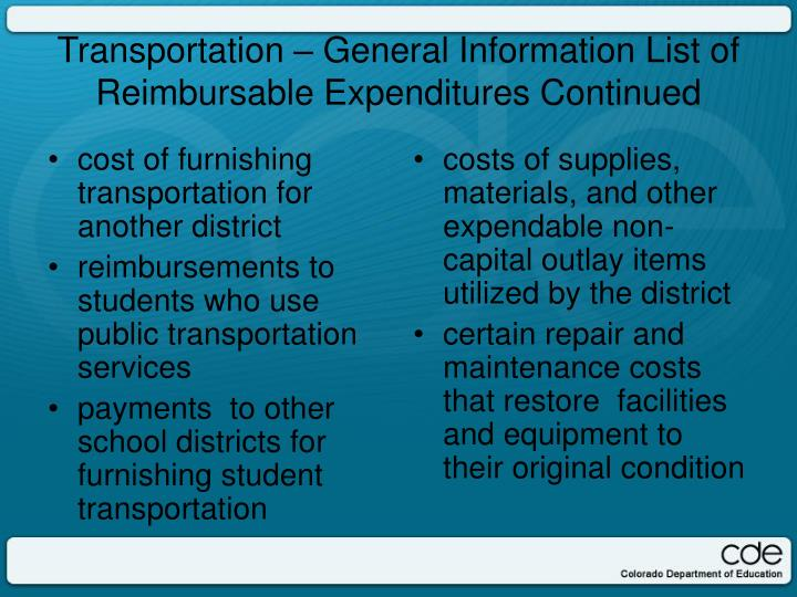 cost of furnishing transportation for another district