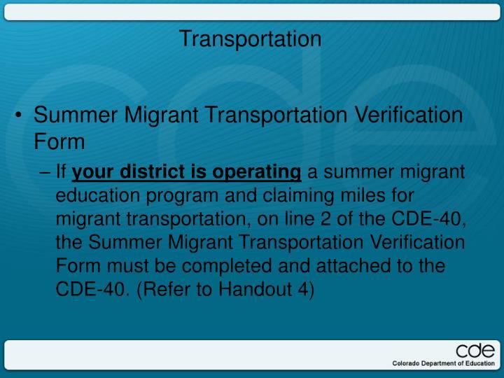Summer Migrant Transportation Verification Form