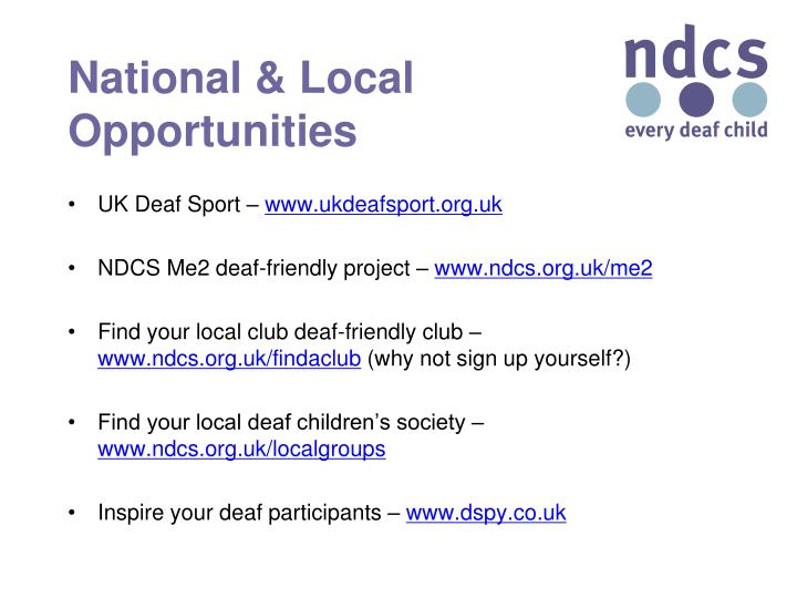 National & Local Opportunities