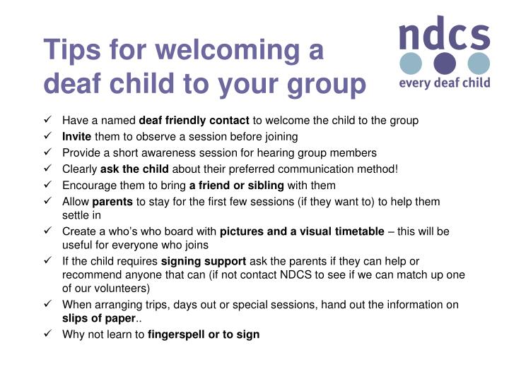Tips for welcoming a deaf child to your group