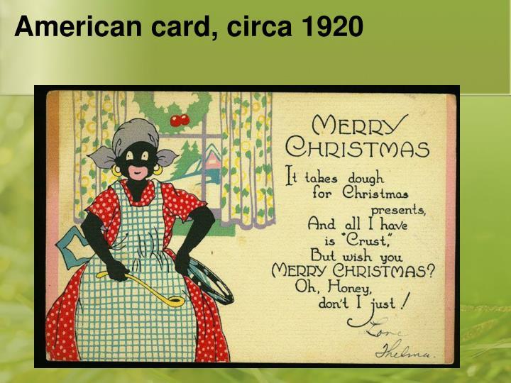 American card, circa 1920