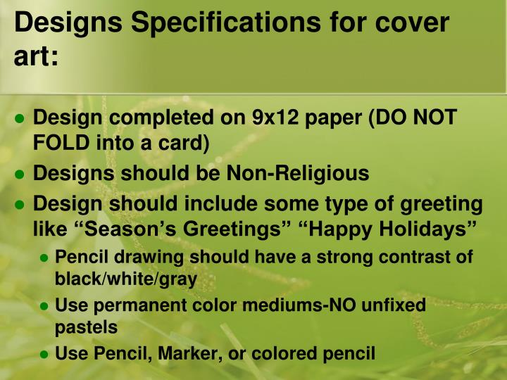 Designs Specifications for cover art: