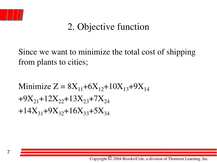 2. Objective function