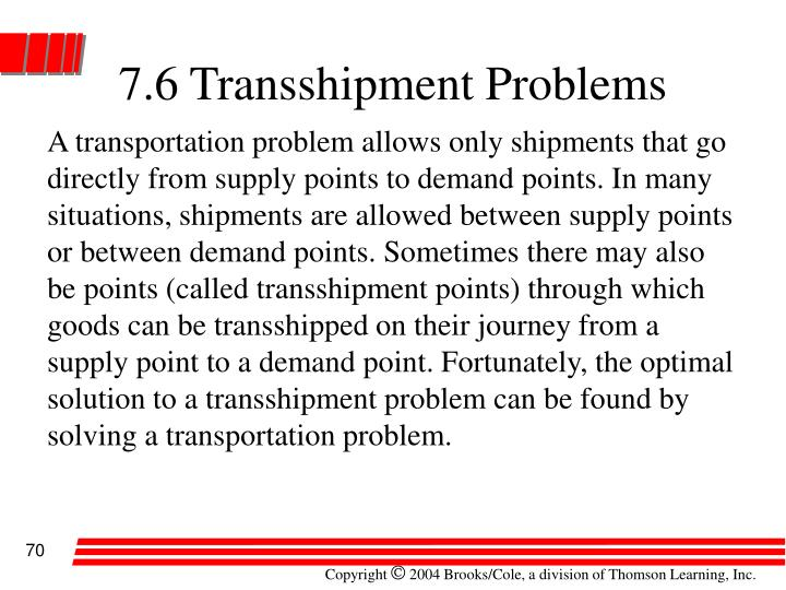 7.6 Transshipment Problems
