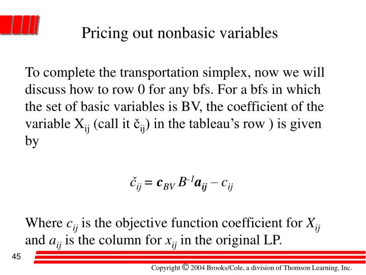 Pricing out nonbasic variables