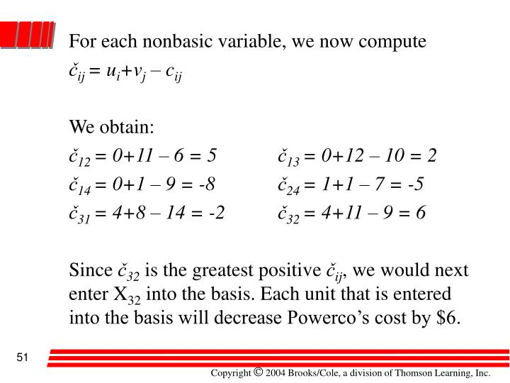 For each nonbasic variable, we now compute