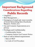 important background considerations regarding public records