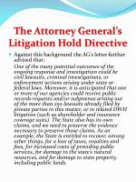 the attorney general s litigation hold directive
