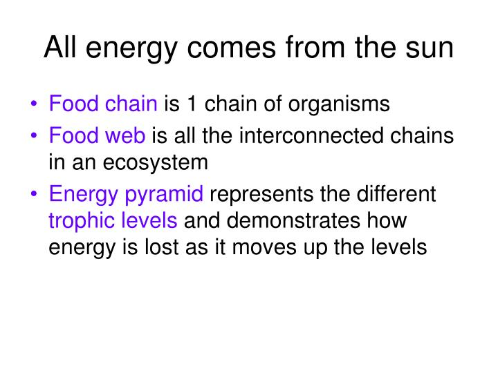 All energy comes from the sun
