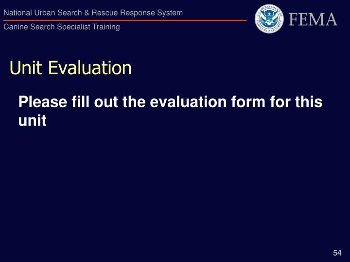 Unit Evaluation