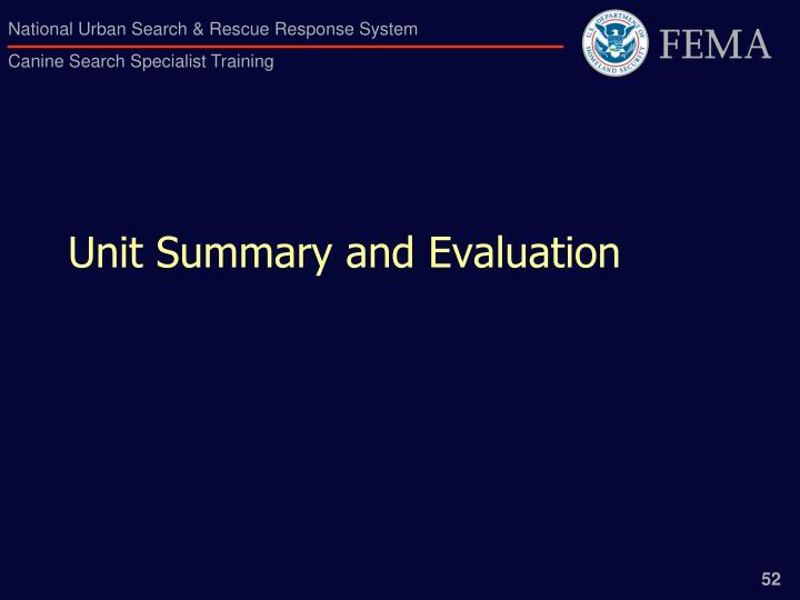 Unit Summary and Evaluation
