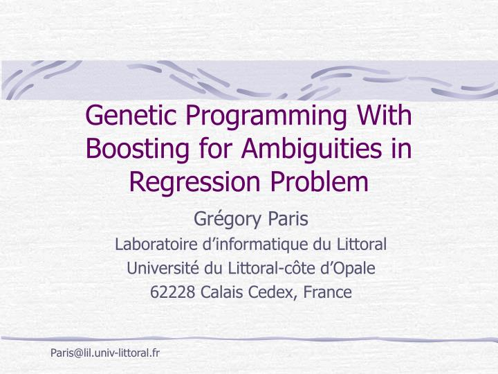 genetic programming with boosting for ambiguities in regression problem