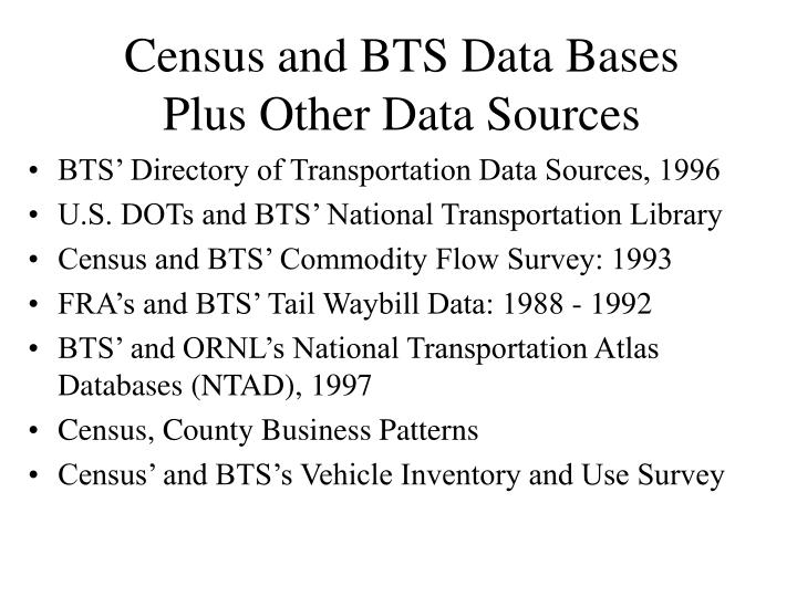 Census and BTS Data Bases