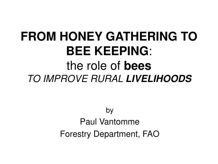 from honey gathering to bee keeping the role of bees to improve rural livelihoods n.