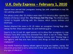 u k daily express february 1 2010