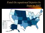 fatal occupational injuries by state in 2002