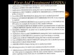 first aid treatment osha