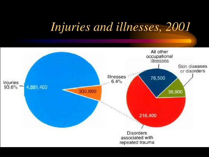 Injuries and illnesses, 2001