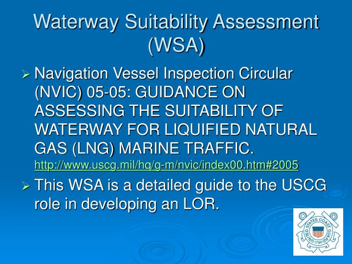 Waterway Suitability Assessment (WSA)