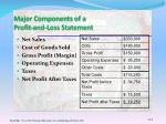 major components of a profit and loss statement