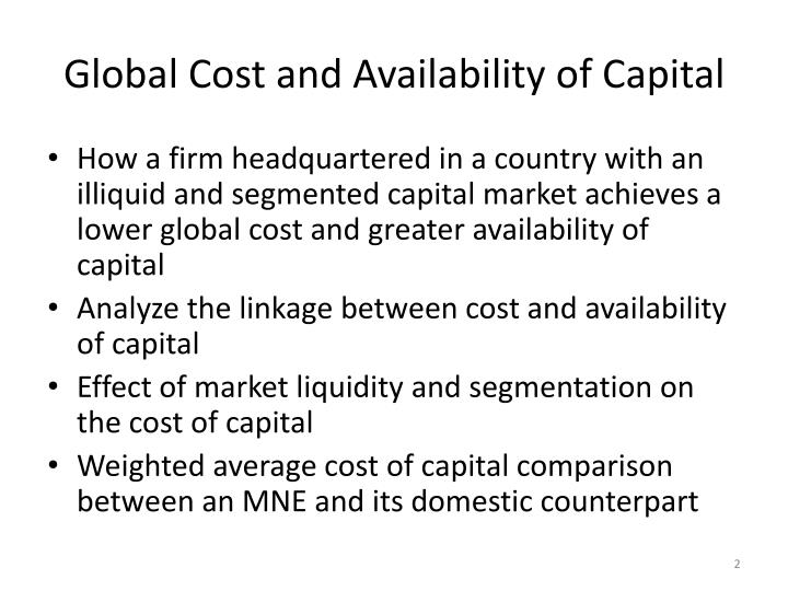Global cost and availability of capital